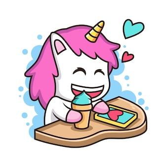 아이스크림으로 귀여운 유니콘 재생 전화. 동물 그림, 흰색 배경에 고립