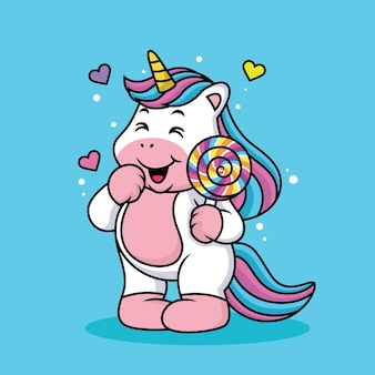 Cute unicorn playing phone with love
