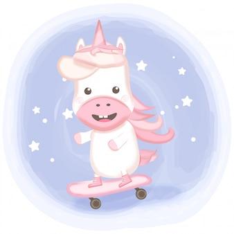 Cute unicorn playing skateboard