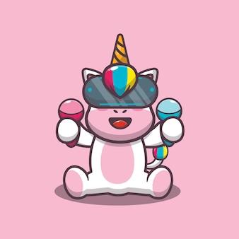 Cute unicorn playing virtual reality game cartoon vector illustration