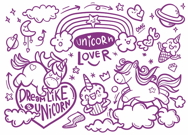 Cute unicorn and pony collection with magic items, rainbow, fairy wings, crystals, clouds, potion. for the design of coloring books,. vector doodles illustrations.