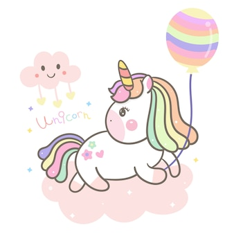 Cute unicorn, pony holding balloon