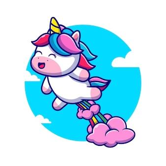 Cute unicorn poop rainbow cartoon illustration.