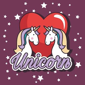Cute unicorn pop art