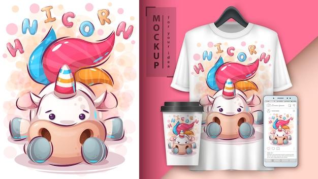 Cute unicorn poster and merchandising