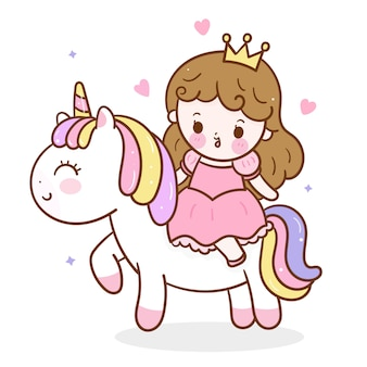 Cute unicorn and princess cartoon