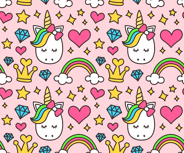 Cute unicorn, princess concept seamless pattern isolated