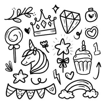 Симпатичная принцесса-единорог, рисунок стикер коллекции на день рождения