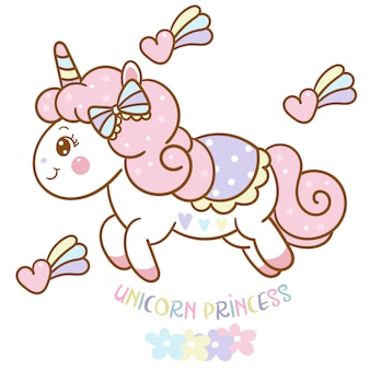 Cute unicorn princess vector with heart cartoon