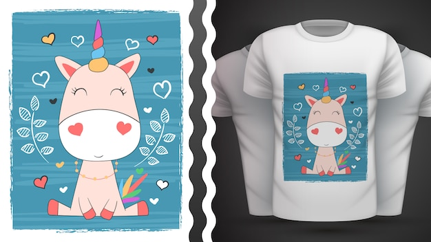 Cute unicorn for print t-shirt