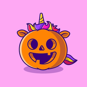 Cute unicorn pumpkin halloween cartoon illustration. flat cartoon style