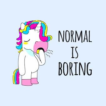 Cute unicorn quote vector illustration, bored unicorn