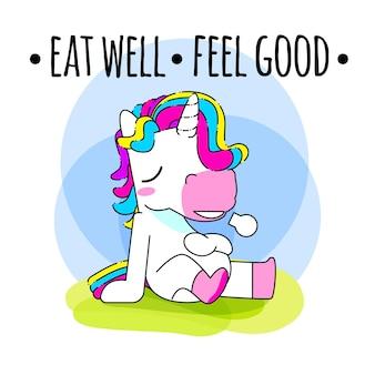 Cute unicorn quote vector illustration, full unicorn