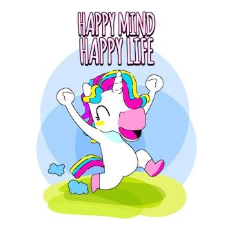 Cute unicorn quote vector illustration, happy unicorn