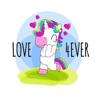 Cute unicorn quote vector illustration, love unicorn