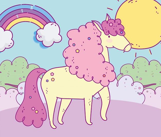 Милый единорог радуга пейзаж солнце фэнтези волшебный мультфильм