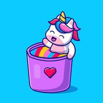 Cute unicorn in rainbow mug cartoon illustration.