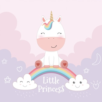 Cute unicorn and rainbow on pink sky background
