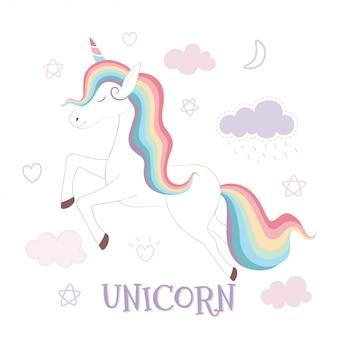 Cute unicorn and rainbow on pink sky background