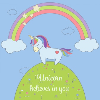 Cute unicorn and rainbow with stars and clouds greeting card