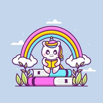 Cute unicorn reading book illustration