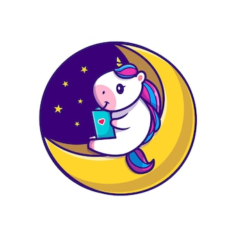 Cute unicorn reading book on moon cartoon icon illustration