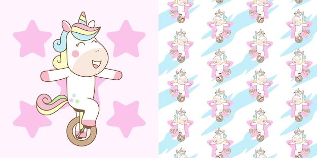 Cute unicorn ride mono cycle с готовым рисунком