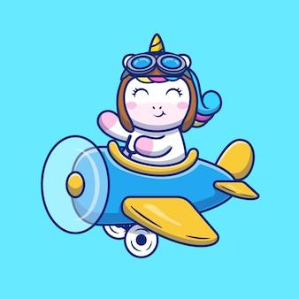 Симпатичные единорог верхом на самолете мультфильм значок иллюстрации. животный транспорт значок концепция изолированных премиум. плоский мультяшный стиль
