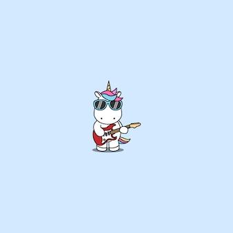 Cute unicorn rocker playing guitar