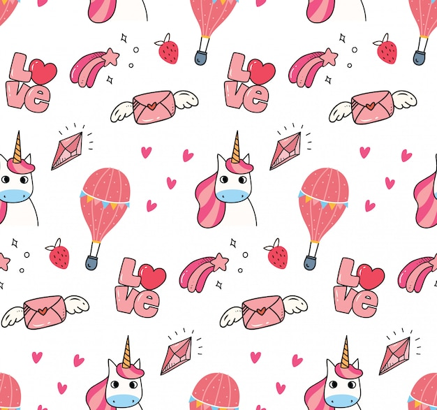 Cute unicorn seamless background