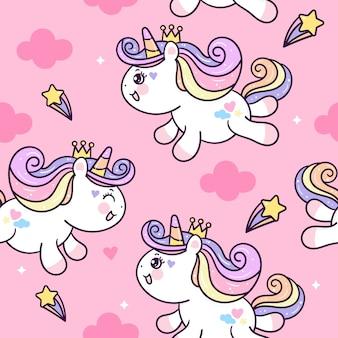 Cute unicorn seamless pattern  on clouds.