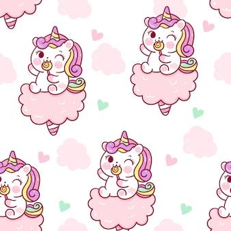 Cute unicorn seamless pattern sit on cotton candy sweet dessert.