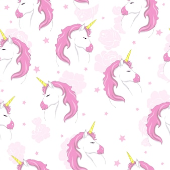 Cute unicorn seamless pattern