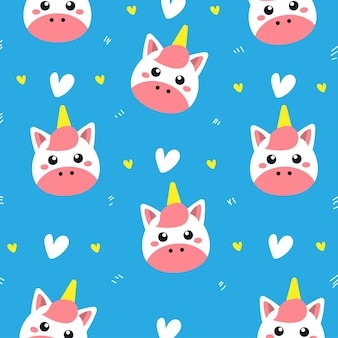 Cute unicorn seamless pattern
