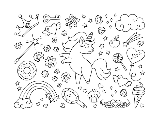 Cute unicorn and set of magic objects. shooting star, rainbow, tiara and magic wand in doodle style