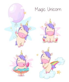 4 포즈의 귀여운 유니콘 세트입니다. 재미있는 마법의 유니콘 만화 캐릭터