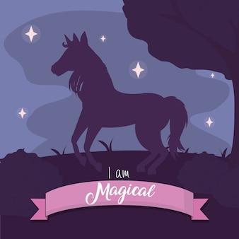 Cute unicorn silhouette at night vector illustration graphic design
