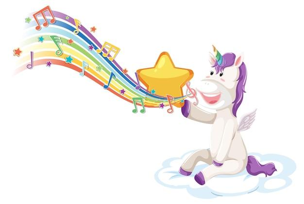 Simpatico unicorno seduto sulla nuvola con simboli di melodia sull'arcobaleno