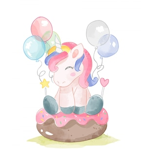 Cute unicorn sitting on donut cake and balloons illustration