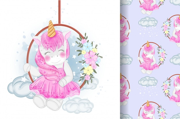 Cute unicorn sitting on a flower swing illustration and seamless pattern