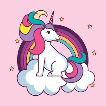 Cute unicorn sitting on cloud with rainbow