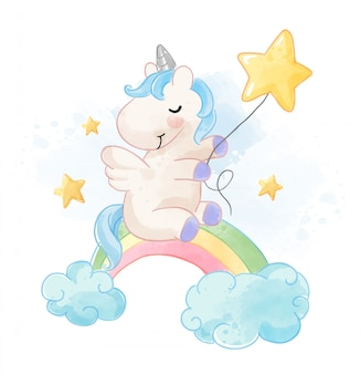 Cute unicorn sitting on rainbow with stars illustration