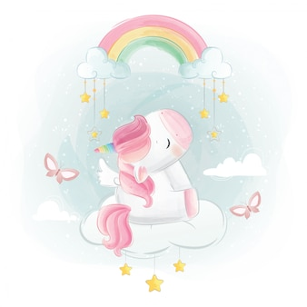 Cute unicorn sitting under rainbow