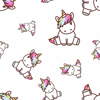 Cute unicorn sitting seamless pattern