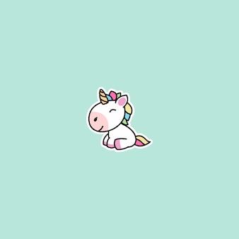 Cute unicorn sitting and smiling cartoon icon