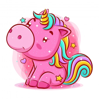 Cute unicorn sitting and smiling