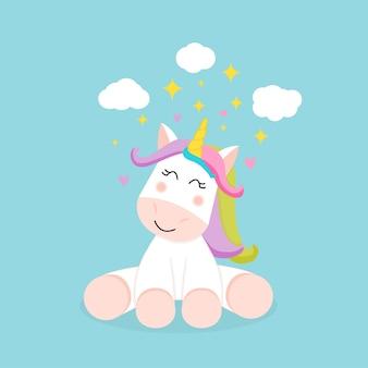 Cute unicorn sitting under the star