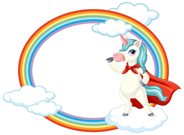 Cute unicorn on sky