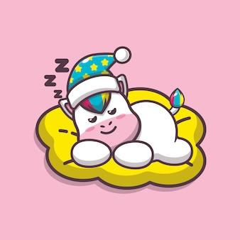 かわいいユニコーン睡眠漫画ベクトルイラスト