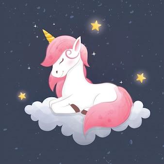 Cute unicorn sleep on cloud night background.